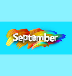 blue september paper banner with colorful brush vector image