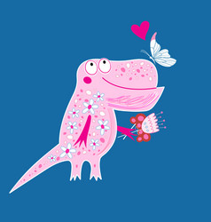 Bright postcard with a funny enamored dinosaur vector