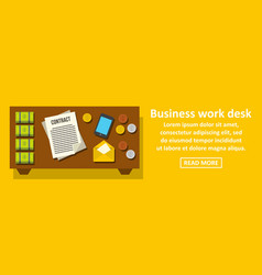 business work desk banner horizontal concept vector image