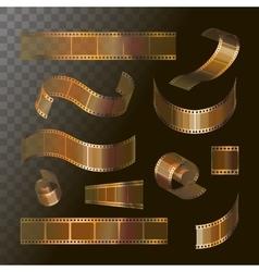 Camera film roll gold color 35 mm festival movie vector image