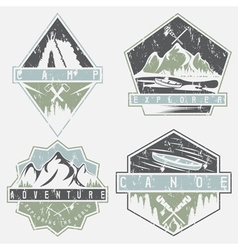 canoe camping and adventure vintage grunge labels vector image