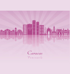 caracas v2 skyline in purple radiant orchid vector image