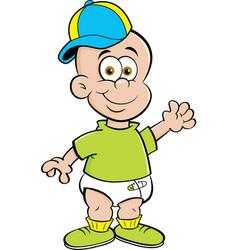 cartoon baby wearing a baseball cap while waving vector image