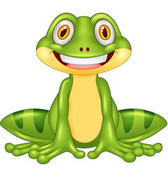 Cartoon happy frog vector