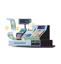 Cashbox with touch screen and payment terminal vector