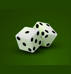 Casino dice on a green background design element vector