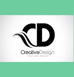 Cd c d creative brush black letters design with vector