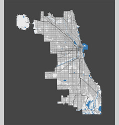 Chicago map detailed map chicago city poster vector