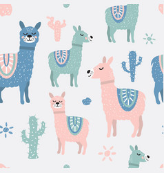 Childish seamless pattern with cute llama and vector
