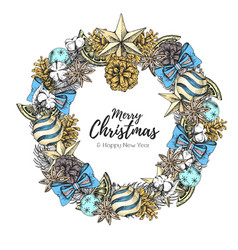 Christmas holiday decorative wreath vector