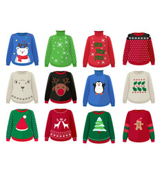 christmas sweaters funny ugly clothes vector image