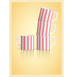 Coffee cups in retro style vector image
