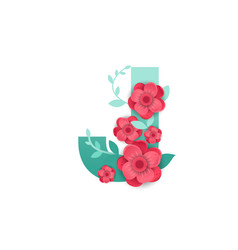 color letter j with beautiful flowers vector image