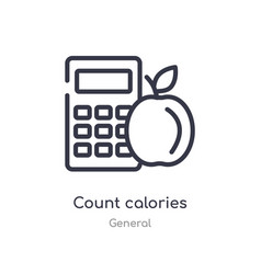 Count calories outline icon isolated line from vector