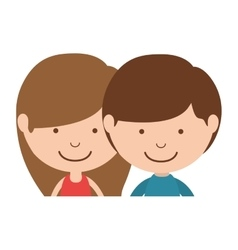 Couple of children half body vector