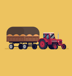 Cute flat design a tractor riding and towing vector