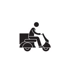 delivery scooter black concept icon vector image