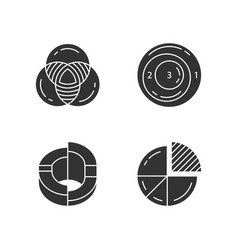 diagrams glyph icons set data graphic vector image