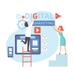 digital marketing people working on business vector image