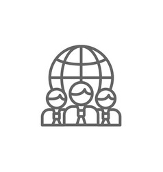 Earth team outline icon elements business line vector