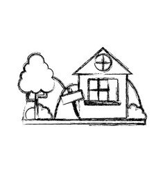 Figure home with design next to tree vector