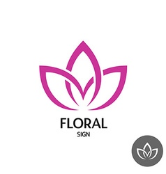 Floral logo with three leaves of linear smooth vector image