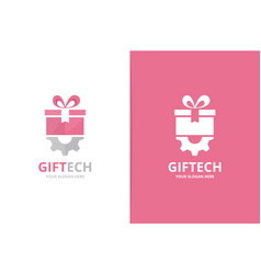 gift and gear logo combination unique vector image