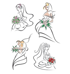 Graceful young bride icons set vector image