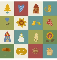greeting card Happy New Year Christmas eve set vector image