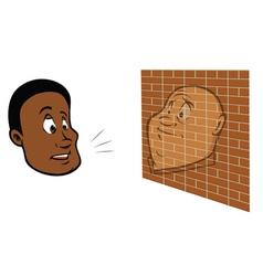 guy talking brick wall vector image