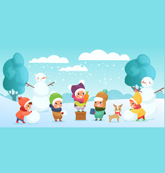 happy children playing in vector image