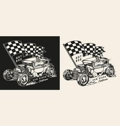 hot rod vintage monochrome print vector image