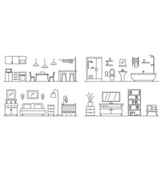house interior banner set outline style vector image