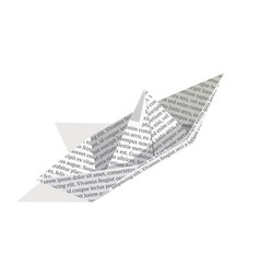 isometric paper boat isolated on white background vector image