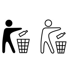 keep tidy icon man throwing bottle in recycle bin vector image
