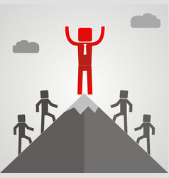 Leader on a mountain peak business success concept vector