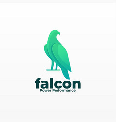 Logo falcon pose gradient colorful style vector