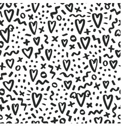 love doodle background with hearts vector image