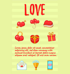 love postcard background concept cartoon style vector image