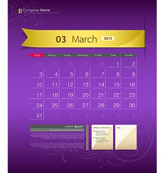 March 2013 Calendar vector image