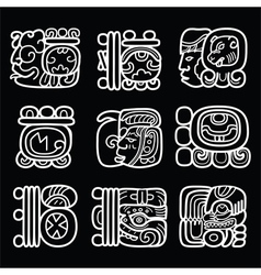 Maya glyphs writing system and language de vector