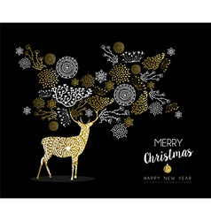 Merry christmas new year gold deer nature vintage vector
