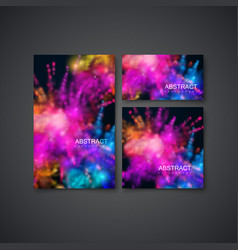 Multicolored explosive clouds of powder dye vector