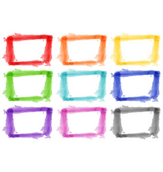 nine watercolor frames on white background vector image