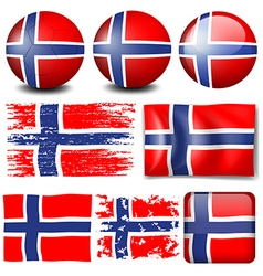 Norway flag on different objects vector image
