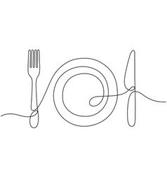 one line art plate knife fork continuous outline vector image