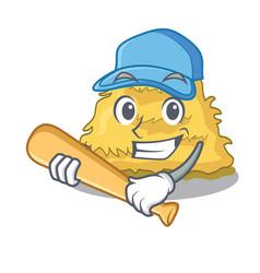 Playing baseball hay bale character cartoon vector
