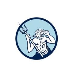 Poseidon Trident Circle Retro vector