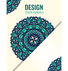 poster with emerald mandala on beige background vector image