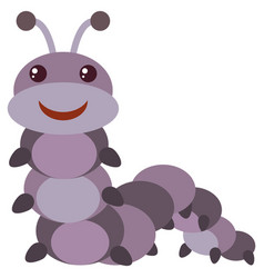 Purple caterpillar with happy face vector